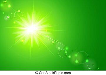 lente, sole, sfondo verde, bagliore