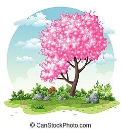 lente, spotprent, achtergrond, natuur