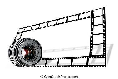 lente, &, striscia cinematografica, bordo, bianco