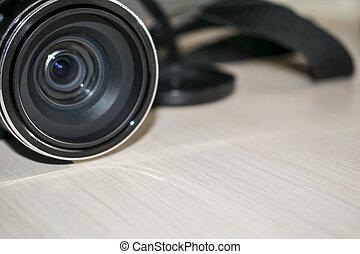 lente, tavola, macchina fotografica