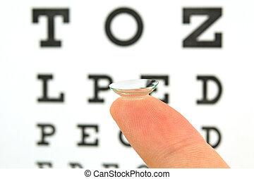 lente, teste, contato, mapa olho