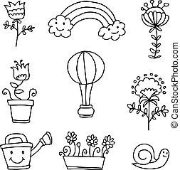 lente, thema, bloem, doodle