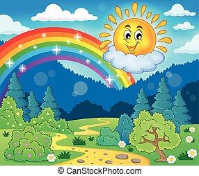 lente, thema, met, vrolijk, zon