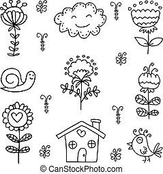 lente, thema, set, doodle