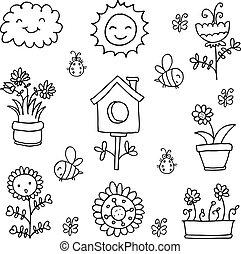 lente, thema, vector, doodle