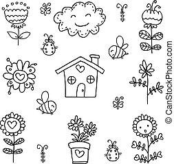 lente, thema, vector, kunst, doodles