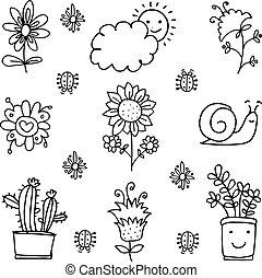 lente, thema, verzameling, doodle