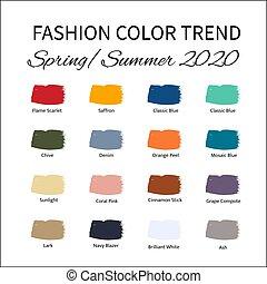 lente, trend, guide., vector, ?, mal, slagen, kleur, mode,...