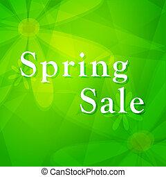 lente, verkoop, op, groene achtergrond, met, bloemen