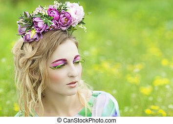 lente, verticaal, van, een, jonge vrouw