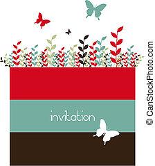 lente, vlinder, bladeren, achtergrond