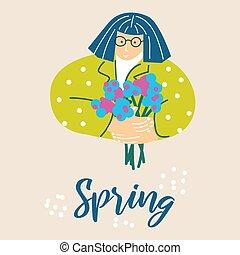 lente, vrouw, illustratie, bloemen, bouquetten, spotprent, vector.