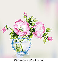 lente, watercolor, bloemen, in, vase.