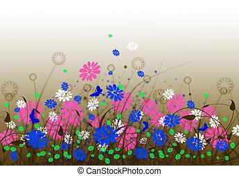 lente, weide, met, bloemen, en, hemel