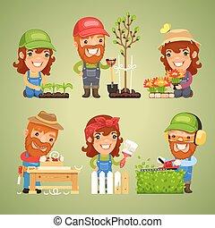 lente, werken, set, landbouwers