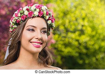 lente, woman., makeup, prachtig