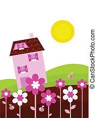 lente, woning, land, bloemen, fantasie