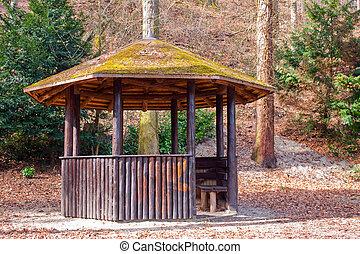 lente, woods., gazebo, cozy