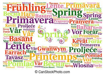 lente, woord, wolk, concept