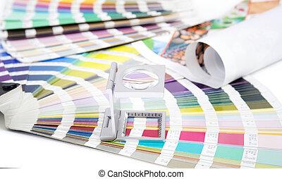 lente, y, pantone., diseño, y, prepress, concepto