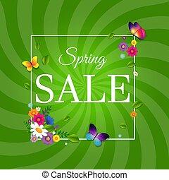 lente, zonnestraal, verkoopaffiche