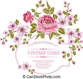 lentebloemen, bouquetten, voor, ouderwetse , card.