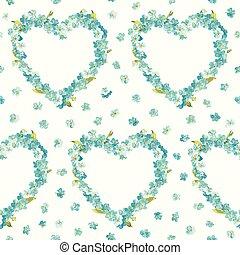 lentebloemen, hart, achtergrond, -, seamless, floral, armoedig, chic, model, -, in, vector