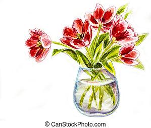 lentebloemen, in, vaas, watercolor, illustratie