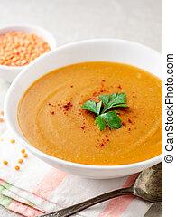 lenteja roja, sopa crema, en, gris, piedra, plano de fondo