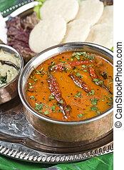 lenteja, sambar, dish., indio, comida.