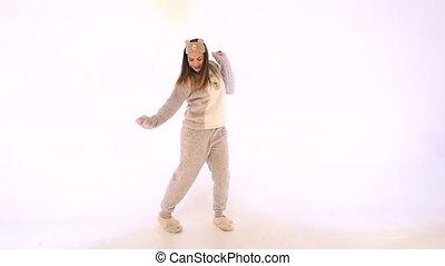 lentement, girl, studio, danse