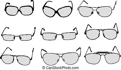 lentes, anteojos, vector