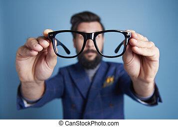 lentes, cara, el suyo, tenencia, frente, hombre