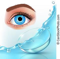 lentes contato, em, água, esguichos, olho, realístico, anúncio, cartaz, com, marca, identidade, ligado, experiência azul, vetorial, ilustração
