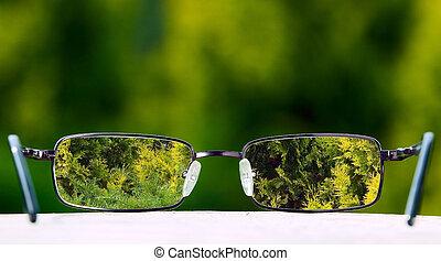lentes, fondo verde, naturaleza