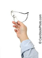 lentes, llevar a cabo la mano