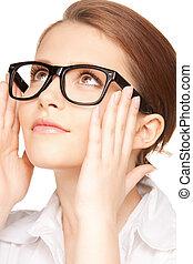 lentes, mujer, encantador
