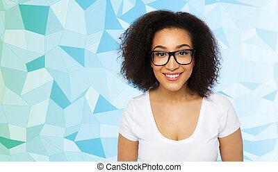 lentes, mujer, estudiante, africano, niña, o, feliz