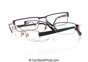 lentes, pila, tres
