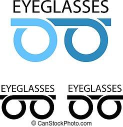 lentes, símbolo, simple
