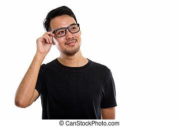 lentes, tiro, pensamiento, joven, mientras, estudio, asiático, tenencia, hombre