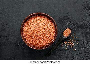 lenticchie, ciotola, rosso