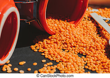 lenticchie, cucchiaio legno, composizione, rosso