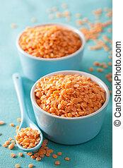 lenticchie, sano, ciotola, rosso, crudo