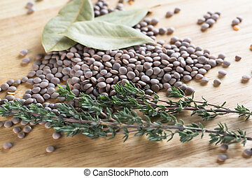 Lentil and Herbs - Bay Leaves, lentils, and thyme,...