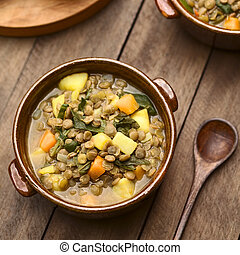 Lentil and Spinach Soup - Vegetarian soup made of lentils,...