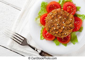 Lentil Burger - Vegetarian Lentil Burger with Tomatoes and...