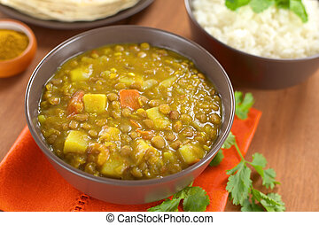 Lentil Curry - Bowl of spicy Indian dal (lentil) curry ...