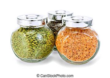 Lentil different in three jars
