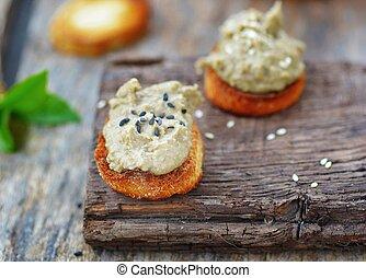 lentil pate on toast bread